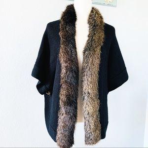 Alberto Makali Wool Blend Faux Fur Black CardiganM